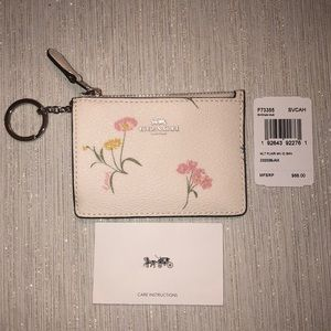 White Multi Floral Coach Mini ID Wallet